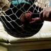 Guy trapped in fishnet vacuum cleaner suck cock