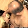 Little hussy blows a fat old dude