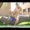 Amy lovely petite blonde with natural tits masturbating with banana and walking naked outdoors