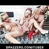 Two blonde lesbians take a break at work to fuck the new girl