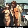Two wild Asian girls walking naked in public