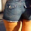 Candid booty shorts thick legs big ass