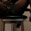 Dark lady fucking herself up & squirting on a stool