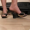 MILF Grace stockinged foot steps, and high slippers dipping