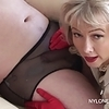 Milf wanks cock in sheer nylon panties