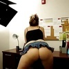 PAWG shaking her ass in office