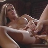 Sexy c-cup blonde strips in bar to suck cock then dude fingers her pussy