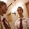 Two  School Girls Play With Themselves And The Principal