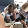 Two Sexy Schoolgirls plays On The Bus