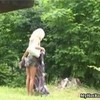 Blonde hottie Jana Mala is walking throug ...
