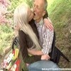 Busty blond teen gives head to a senior o ...
