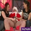 Small dick humiliation and handjob by two femdom ladies