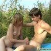 Teen couple fucks outdoors