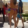 Thong bikini girl walking to the pool!