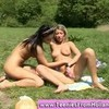 Two lesbian teens licking pussy in the open