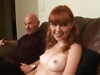 2 Old Men paid by a Redhead Teen