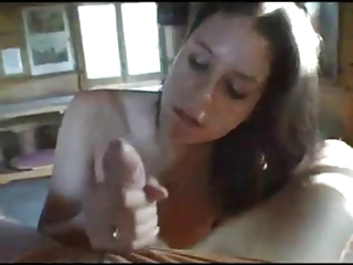 Amateur brunette sucking and titty fucking with facial