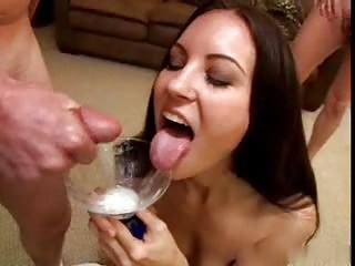 Cute girl drinks creamy cum