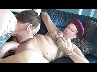 German mature on the couch