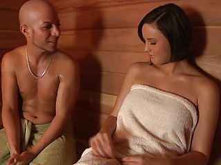 Girl fuck in the sauna
