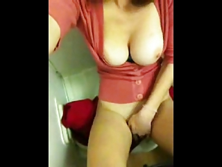 Girl masturbates in plane bathroom