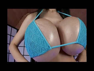 Girl with huge fake tits plays with big dildo