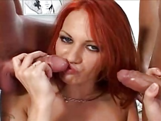 Redhead Teen Gets Her Ass used By 3 Cocks & Gets DP