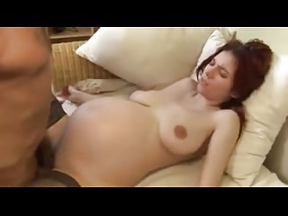 Sexy redhead pregnant girl with toy and cock