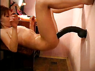 Skinny amateur play with huge anal toys and ass gaping