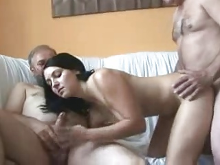 Very Cute 18yr Teen Girl Sucks & Fucks 5 Older Men