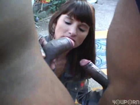 Two blacks fuck cherie's white pussy and ass