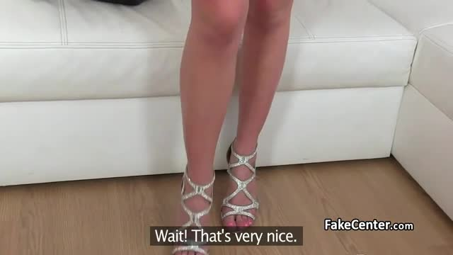 Gal with tanlines fucks on casting