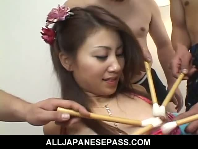 Furry-Japanese-pussy-shaved-clean-and-fucked-by-guys