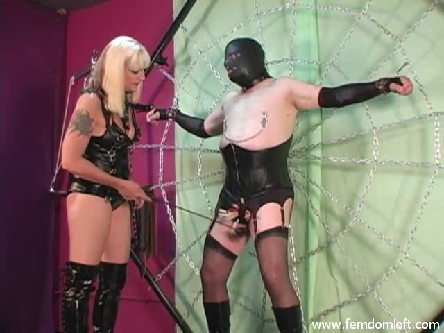 Slave-disciplined-with-clothespins-and-crop