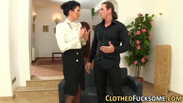 Clothed-milf-gets-facial