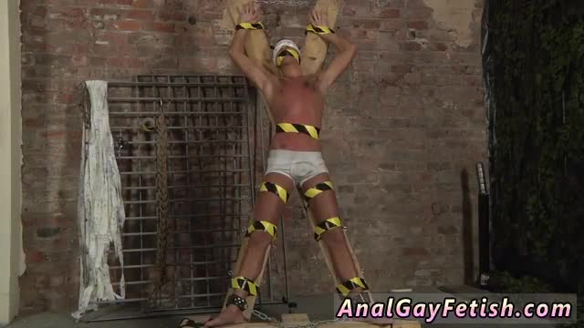 Bondage-male-self-gay-Blindfolded,-gagged,-tormented-and-flogged