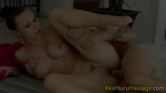 Jizzed-masseuse-bent-over