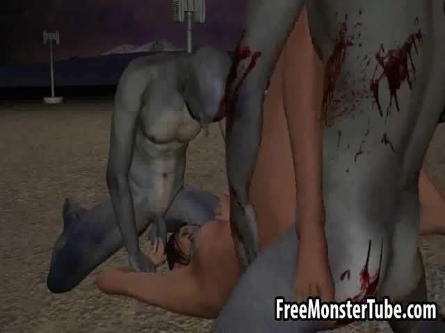 3D-babe-gets-double-teamed-outdoors-by-some-zombies