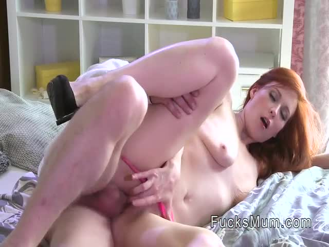Redhead-mature-lady-fucks-in-panties