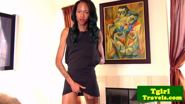 Tattooed-ebony-shemale-assplays-with-toy