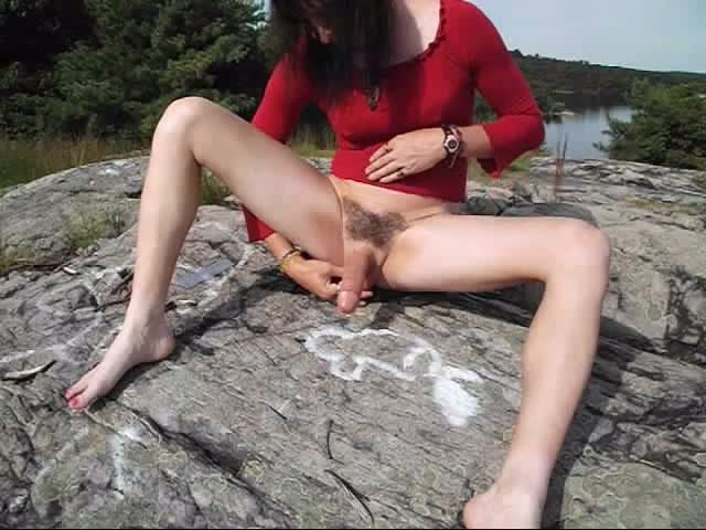 Lustful-Whore-tranny-masturbating-on-a-cliff!!!