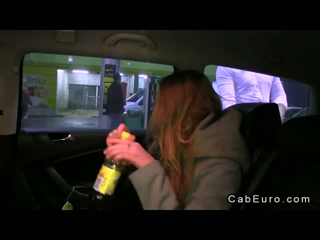 Wild amateur babe cheating in fake taxi