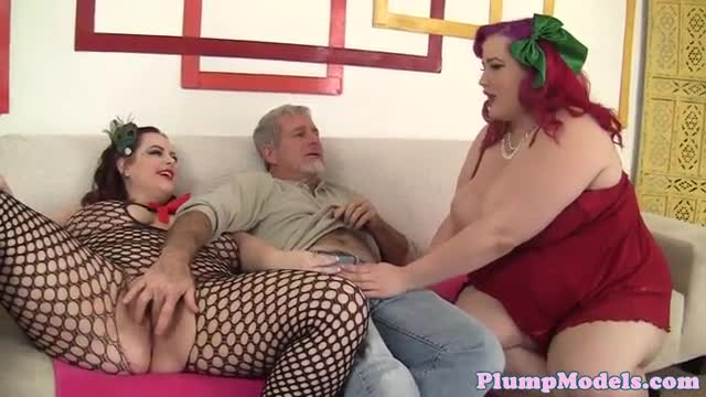 Busty plumpers queen and ride a lucky guy