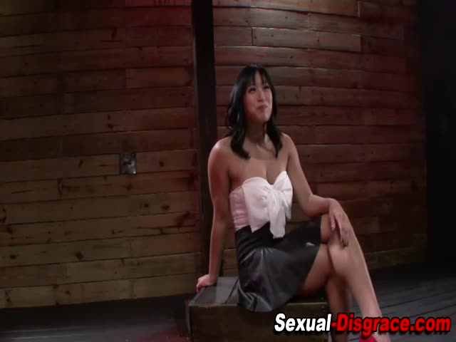 Asian-slave-gags-on-cock