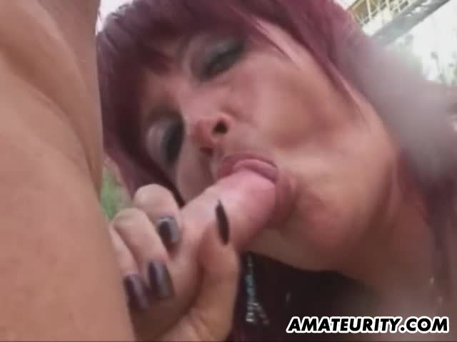 Busty-amateur-Milf-outdoor-action-with-cum-in-mouth
