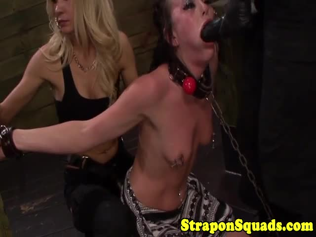 Pathetic-sub-in-mouth-gag-gets-straponfucked-