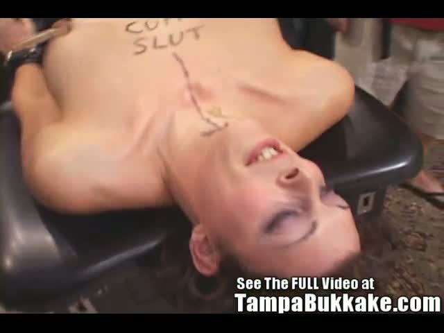 Gagging-Pain-Slut-Bukkake!