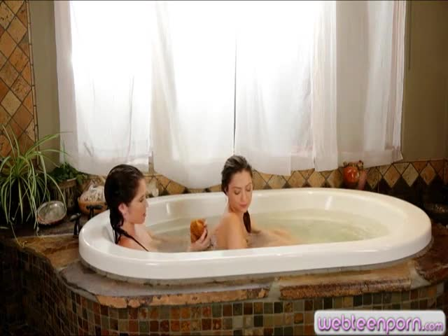 Two-cute-teens-pleasuring-in-the-bathtub