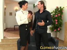 Clothed milf gets facial