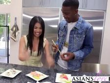 A video by ava2whore: Cute Asian babe fucked hard by a massive black cock inside the kitchen | uploaded 2 hours, 5 minutes ago